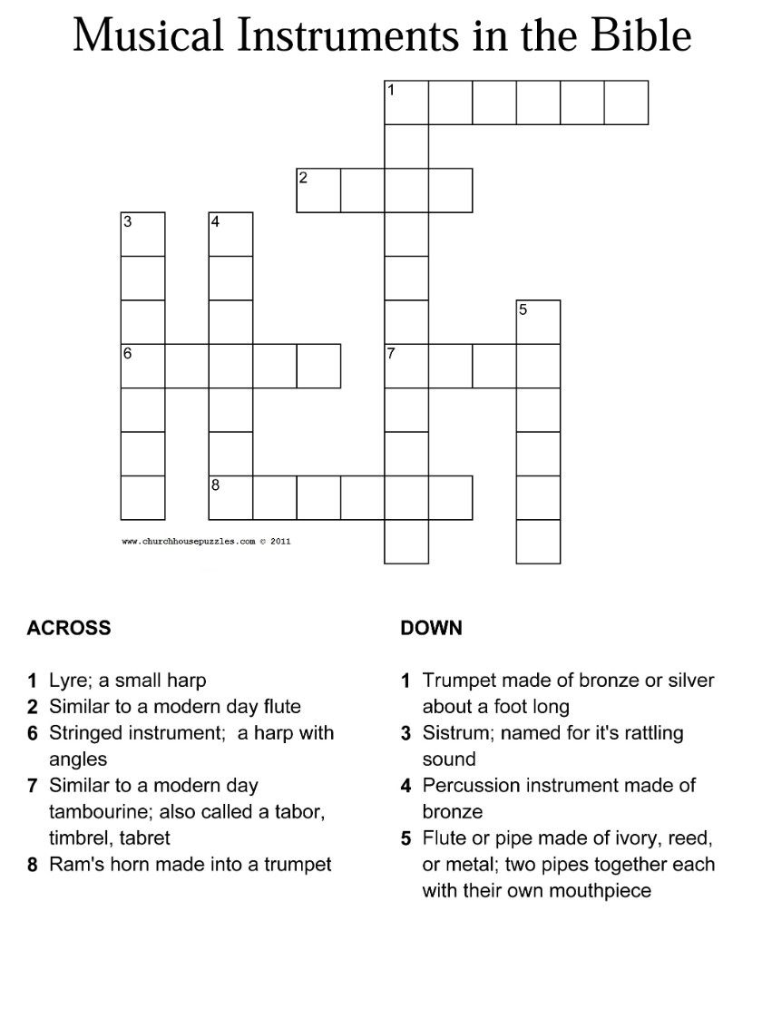picture relating to Bible Crossword Puzzles Printable With Answers known as Musical equipment inside of the Bible crossword with option sheet