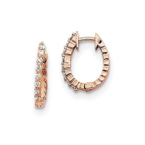 14K Rose Gold (H/I1 Quality) Diamond Hinged Hoop Earrings