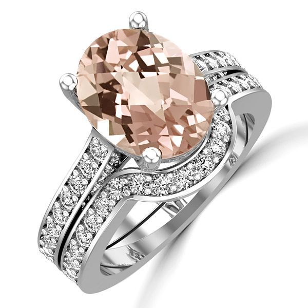 Jewelry Point - Oval Peach-Pink Morganite Diamond Engagement
