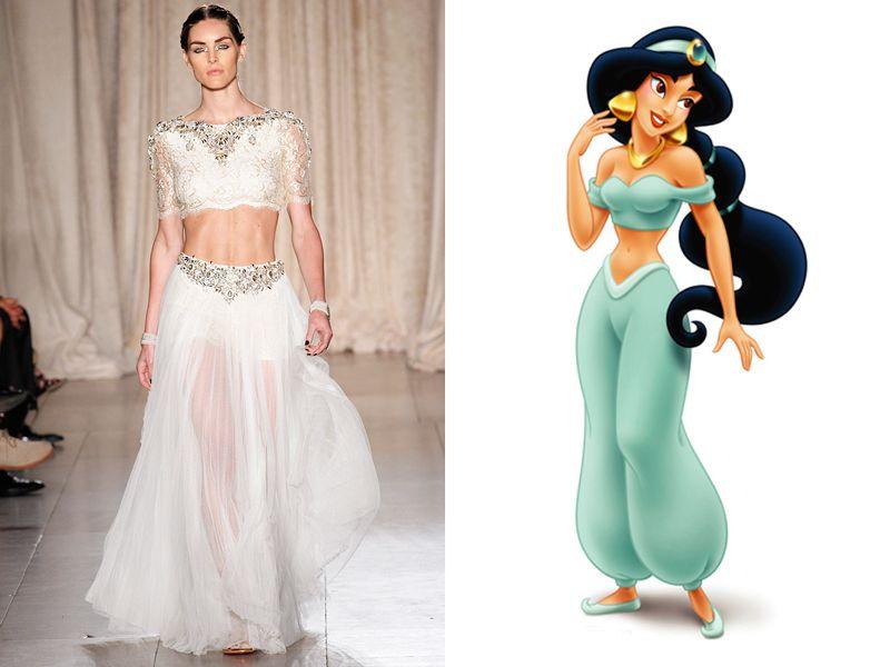 Jasmine, Aladdin - Photo: (from left) Marcus Tondo/GoRunway.com; Photo: Courtesy of Walt Disney Pictures