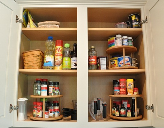 lazy susans in spice cabinet organizing cupboards organizing spices and cooking oils tidy on kitchen organization lazy susan id=80721
