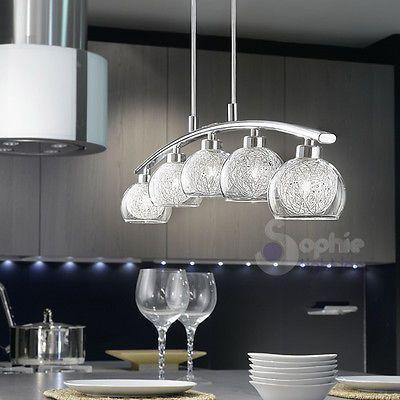 Lampadario lampada sospensione design moderno acciaio cromo vetro ...
