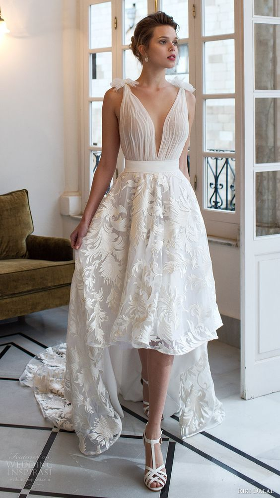Cute Straps Trumpet Chiffon V back Lace Chapel Train Beach Wedding Dress lower the waist line to just above the hips