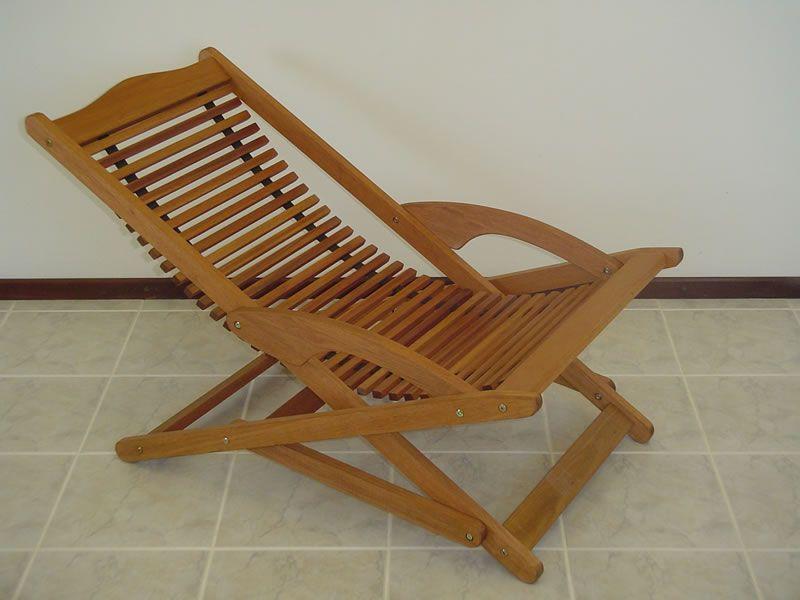 Copacabana Folding Sling Chair Outdoor Wood Patio