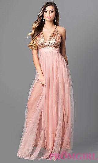 50d6c8950545 Long V-Neck Tulle Prom Dress with Empire Waist | Bridesmaids Dresses ...