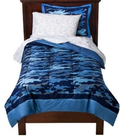 Blue Camouflage Boys Twin Comforter Set 5 Piece Bed In A Bag By Kids Bedding 89 99 The Set Includes Blue Bedding Sets Kids Bedding Sets Camo Bedding Sets