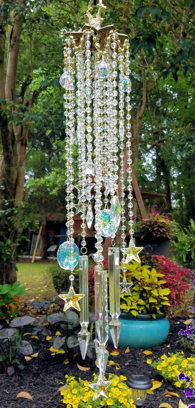 Star Studded Antique Crystal Wind Chime, Stars Wind Chime, Celestial ...