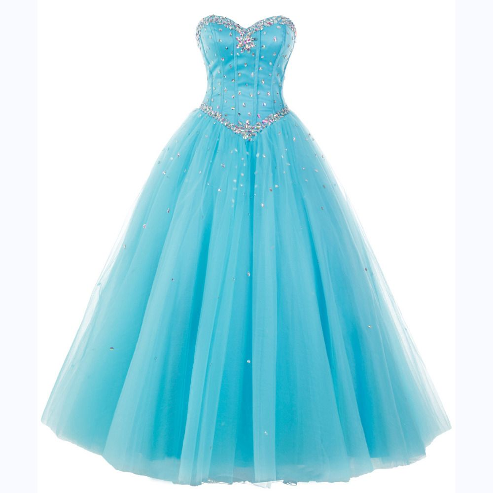 Blue long tulle formal dress featuring rhinestone bodice and laceup