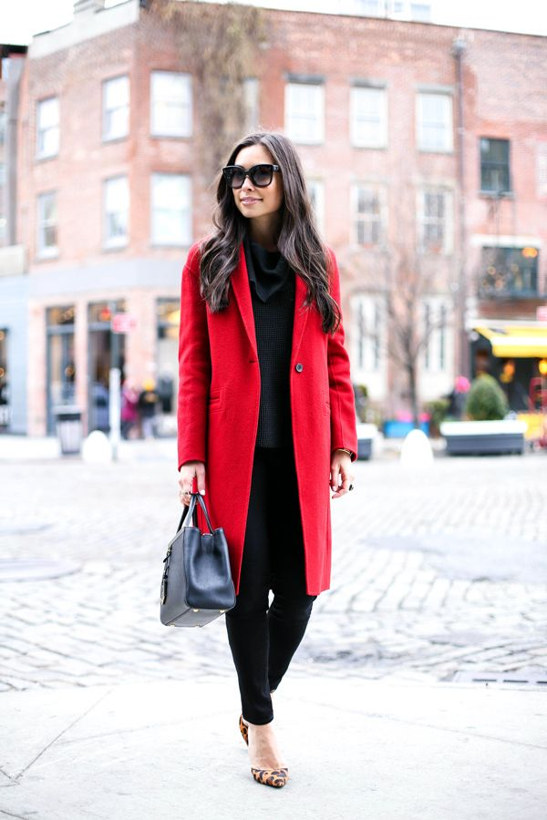 Red Vince coat, black cowl neck sweater, black skinny jeans ...