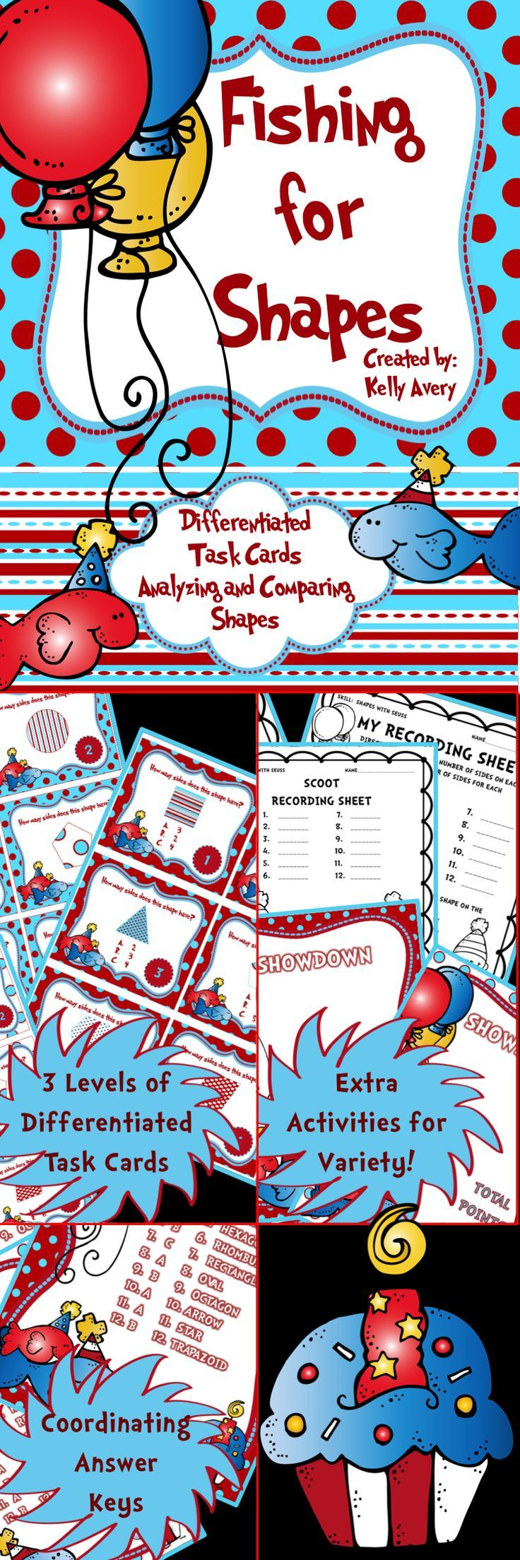 Teaching preschool and kindergarten students how to identify shapes can easily be done with the variety of fun activities included in this math product!  Click here to discover the many possibilities of incorporating these whimsical shape task cards into your math lessons!  Perfect for math centers, partner activities, whole group math lessons using Kagan Structures, fast finisher activities, RTI, The Daily 3 activities, and so much more!