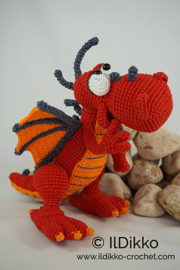 Amigurumi Crochet Pattern - Drew the Dragon - English Version ...