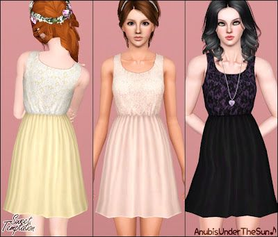 The Sims 3 Female Clothes: Sweet Temptation Lace Dress