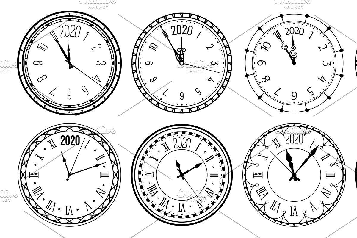 Round 2020 clock. New Year countdown New years countdown