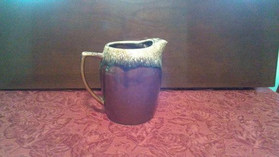 Kathy Kale brown drip glaze ceramic water pitcher by TheRetroCrow, $20.00