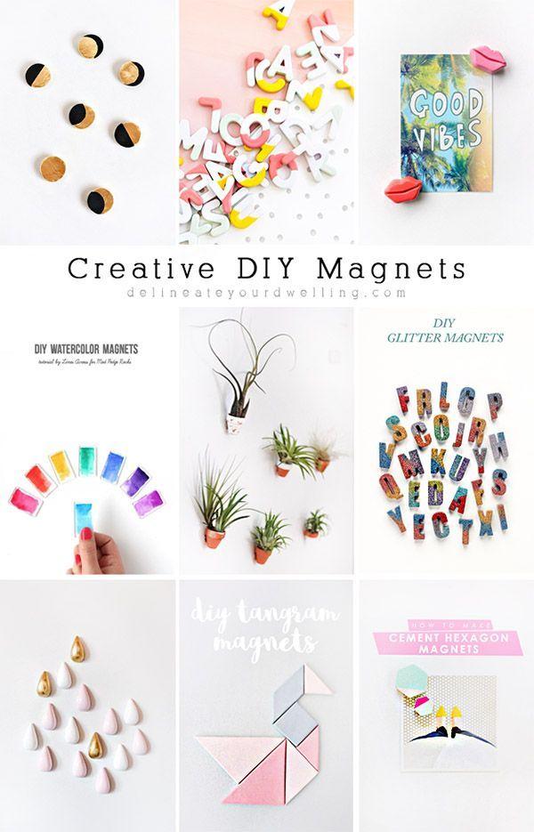 Ideas : NINE super Creative DIY Magnets! I love all these fun crafty ideas - Delineateyourdwelling.com