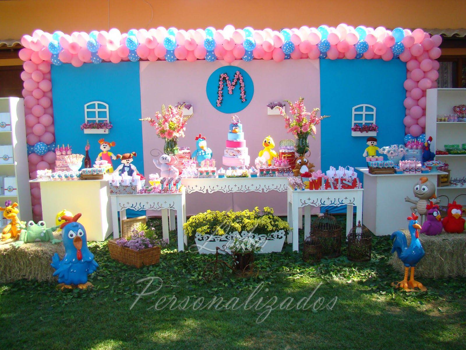 Leka Personalizados GALINHA PINTADINHA DA MA u00cdSA ROSA E AZUL Festas infantis Festa galinha  -> Decoração De Festa Infantil Da Galinha Pintadinha Rosa