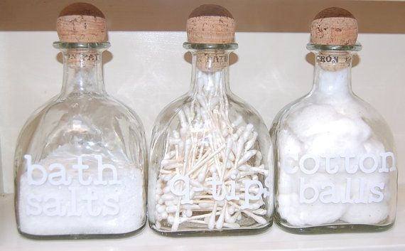 Who Knew Empty Patron Bottles Could Be So Useful Bathroom Accessories Shabby Chic Bathroom Accessories Bathroom Accessories Sets
