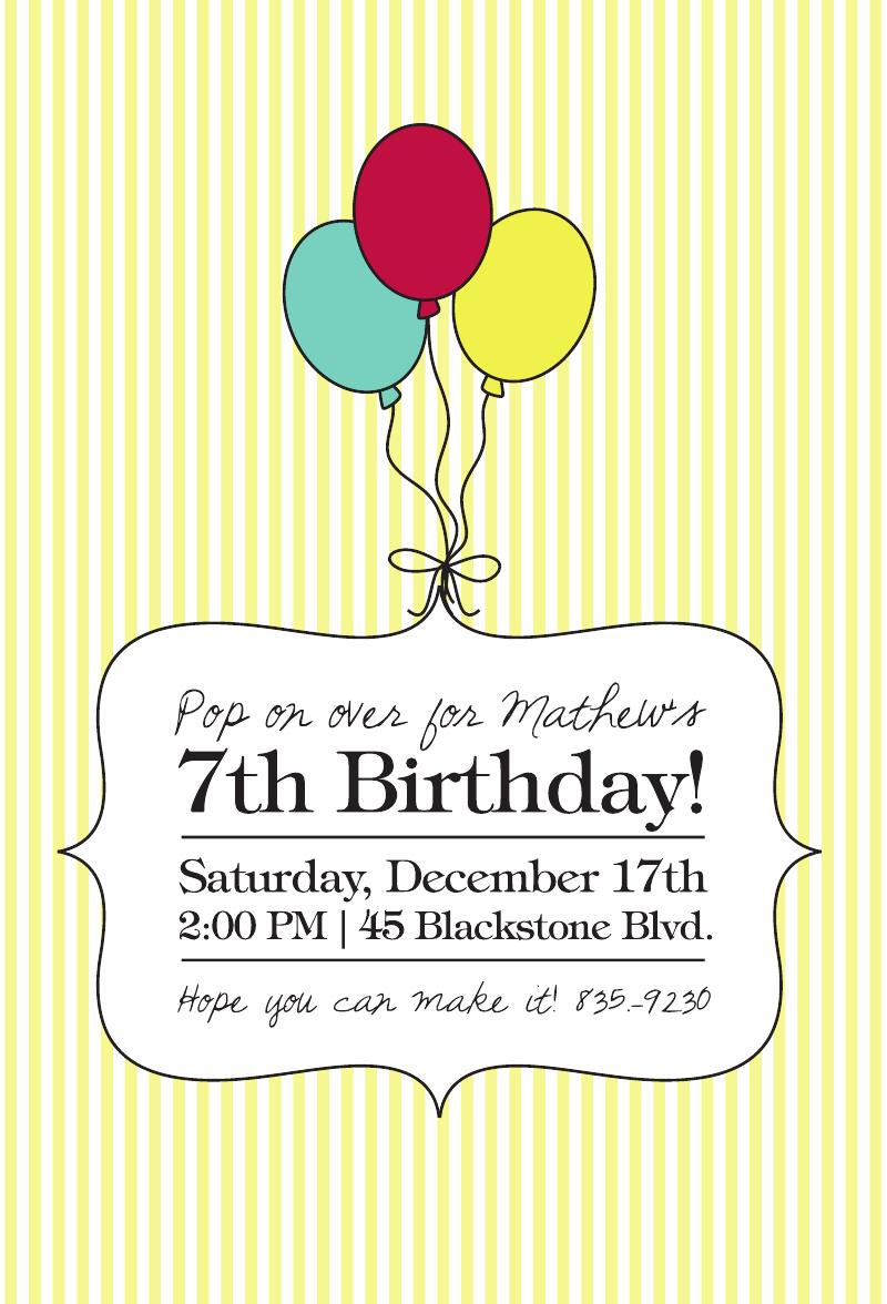 Custom Birthday Party Invitation, Balloons, Kids | Birthday party ...