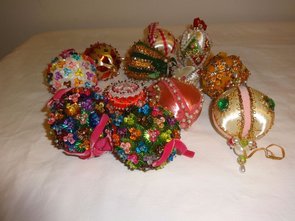 Hand Decorated Beaded Satin Ball Christmas Ornaments One Dozen