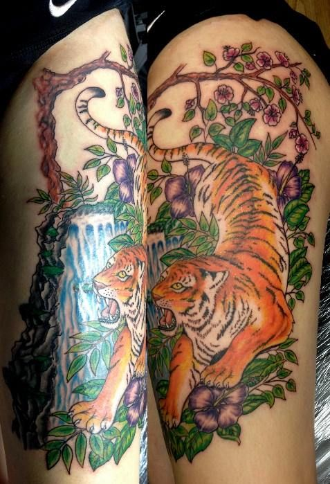 A Tiger With A Waterfall Hibiscus Flowers And A Cherry Blossom Tree Waterfall Tattoo Hibiscus Hibiscus Flowers