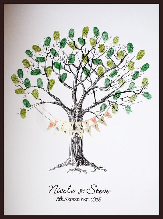 Wedding Fingerprint Tree With Bunting Etsy Guest Book Tree Wedding Fingerprint Tree Wedding Tree Guest Book
