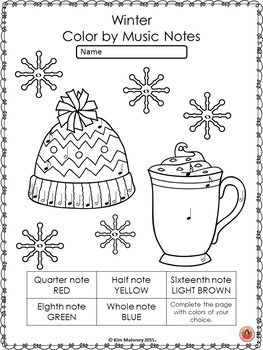 Winter Music Coloring Sheets: 26 Winter Color by Music
