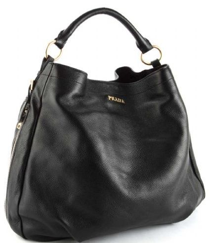 Prada Vitello Daino Leather Shoppers Handbag Black | Bags galore ...
