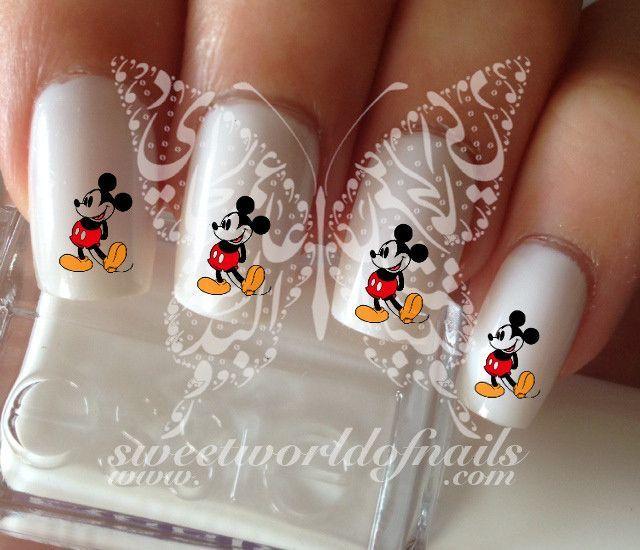 Mickey Mouse Nail Art Nail Water Decals | Uña decoradas, Diseños de ...