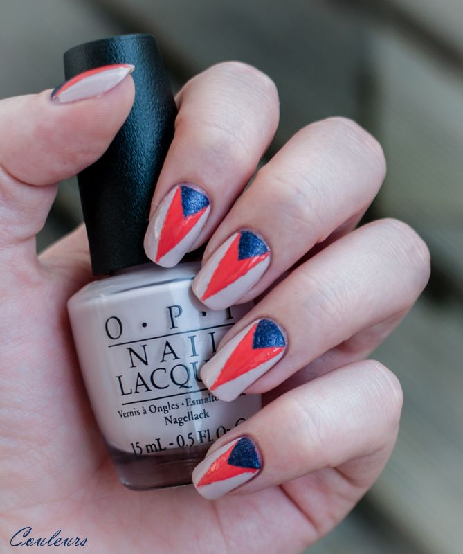 OPI Hot & Spicy, OPI Don't Bossa Nova Me Around, OPI Ink suede taping mani