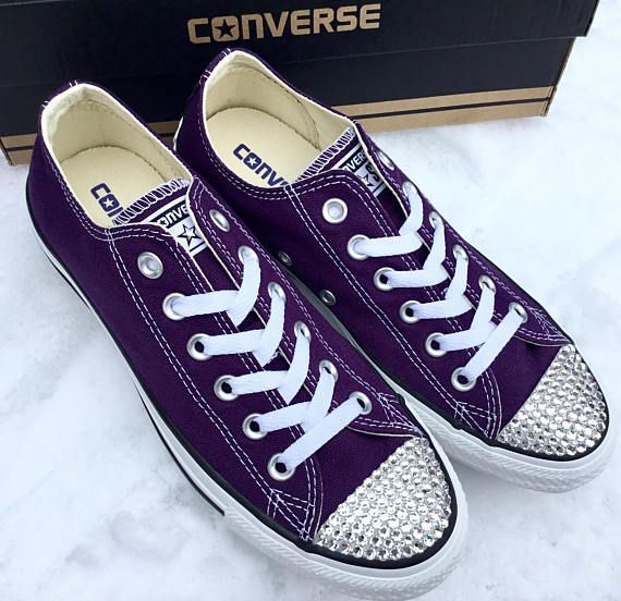 14187913535b Purple Converse Low Top Eggplant Peel Custom Bling Bridal Wedding Kicks w  Swarovski  Crystal Rhinest