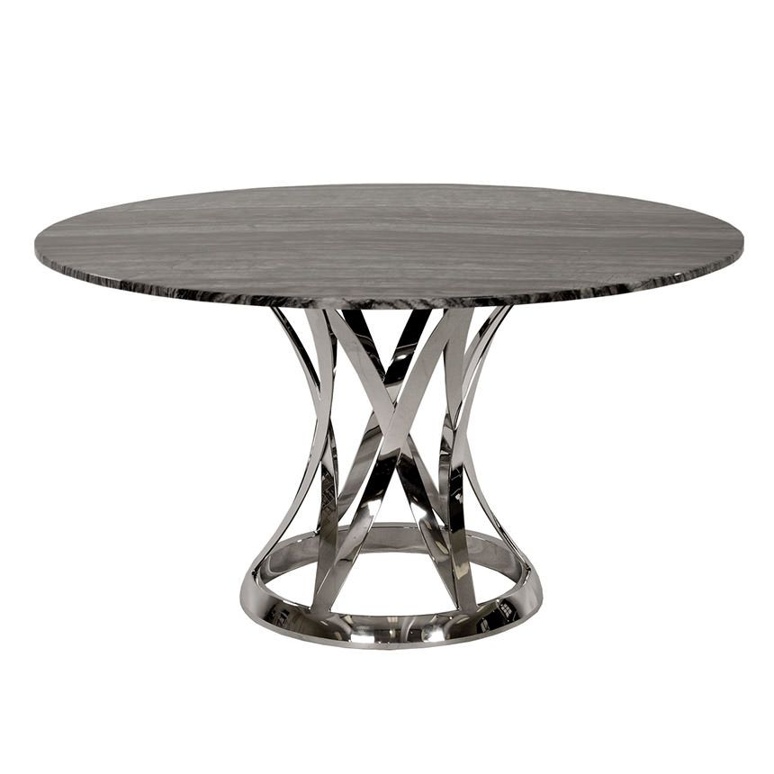 8f0ab9710d28 Quinton Silver Tulip White Marble Round Dining Table - 51.5