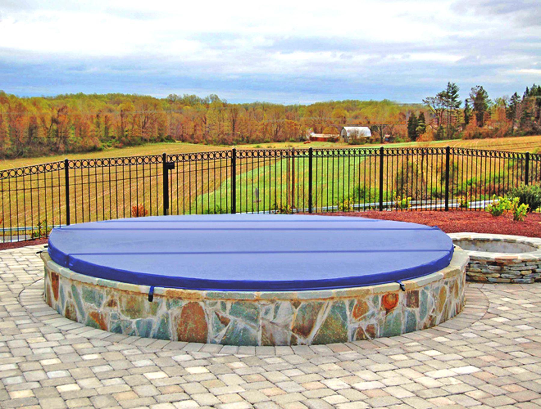 Custom Inground Oval Spa Cover Blue Hot Tub Cover Custom Hot Tubs Spa Hot Tubs