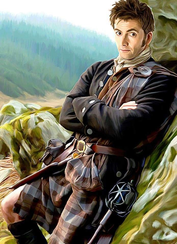 """Doctor Who Fan Porn - licieoic: """"""""Outlander"""" - Digital Oil Painting Because we ALL need to see  David Tennant in a slightly filthy kilt with gratuitous knee porn."""