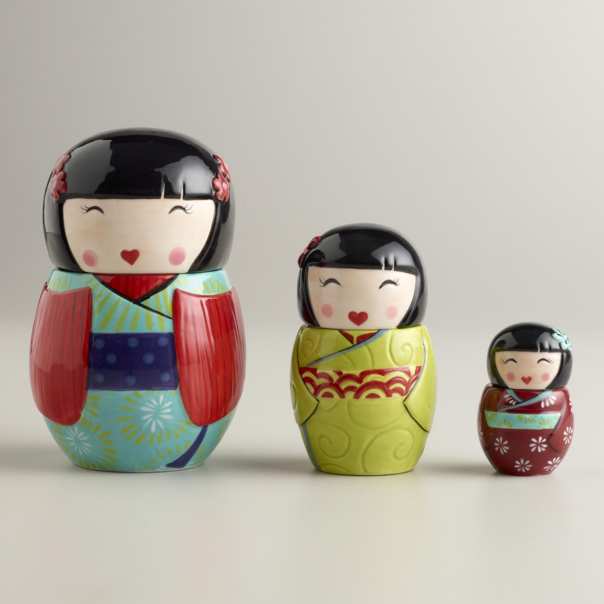 Kokeshi Ceramic Measuring Cups, Set of 3-Kokeshi Ceramic Measuring ...