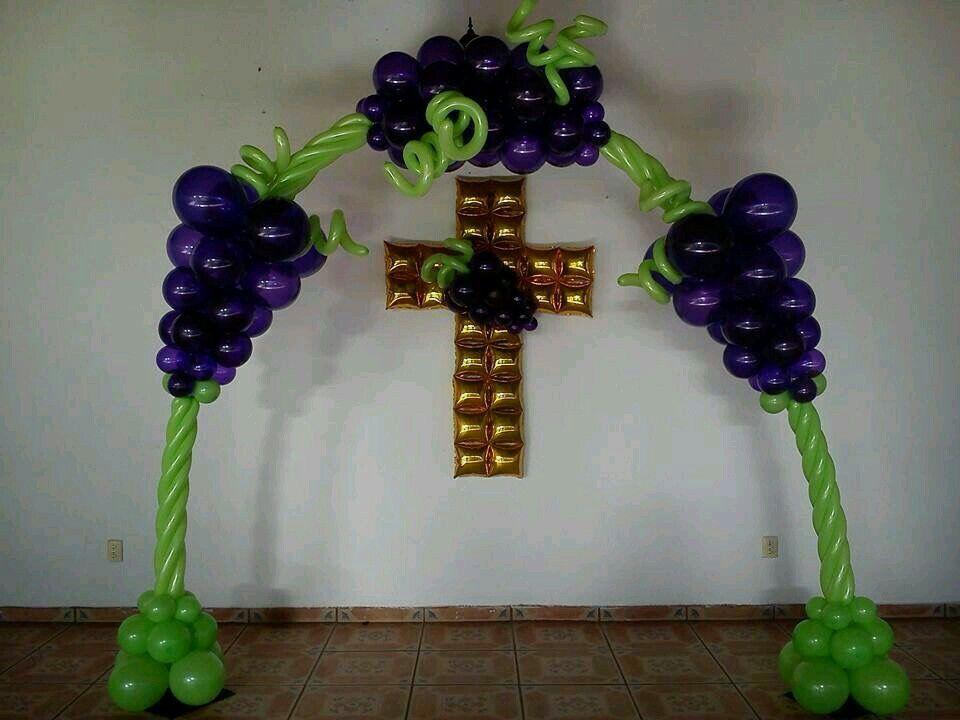 Primera comuni n decoraci n con globo pinterest for Decoracion globos comunion