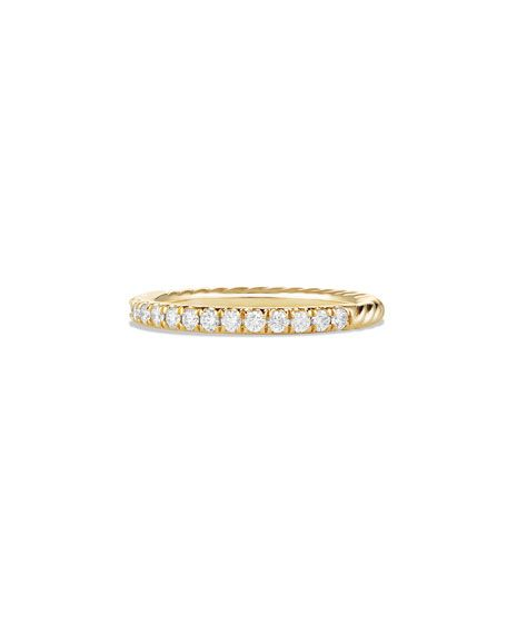 David Yurman Cable Collectibles Pave Diamond Band Ring In 18k Yellow Gold Size 7 Pave Diamond Band Diamond Rings Bands Pave Diamond Ring