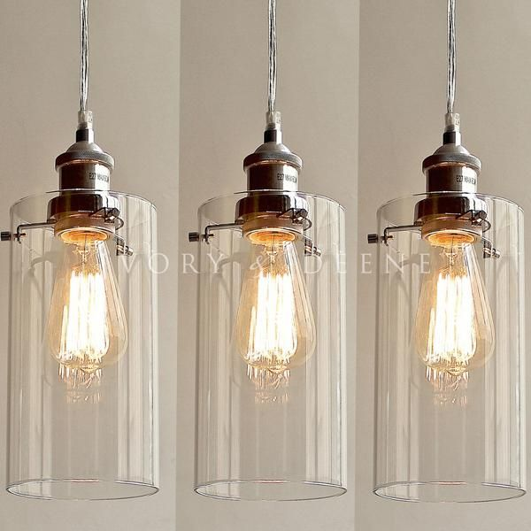 Allira Pendant Lights Clear Glass Chrome Fittings  Home Amusing Kitchen Pendant Lights Images Review