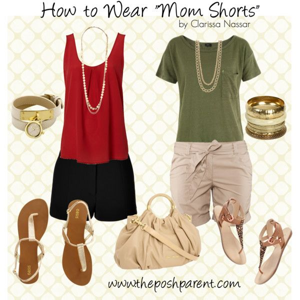 How to Wear Mom Shorts, created by theposhparent on Polyvore