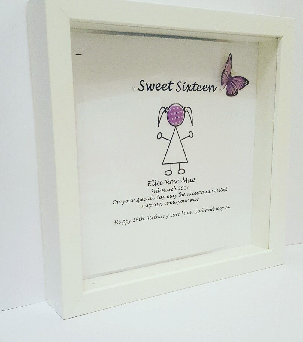Sweet 16 picture frame 16th birthday picture frame happy sweet 16 picture frame 16th birthday picture frame happy birthday butterflys personalised jeuxipadfo Gallery