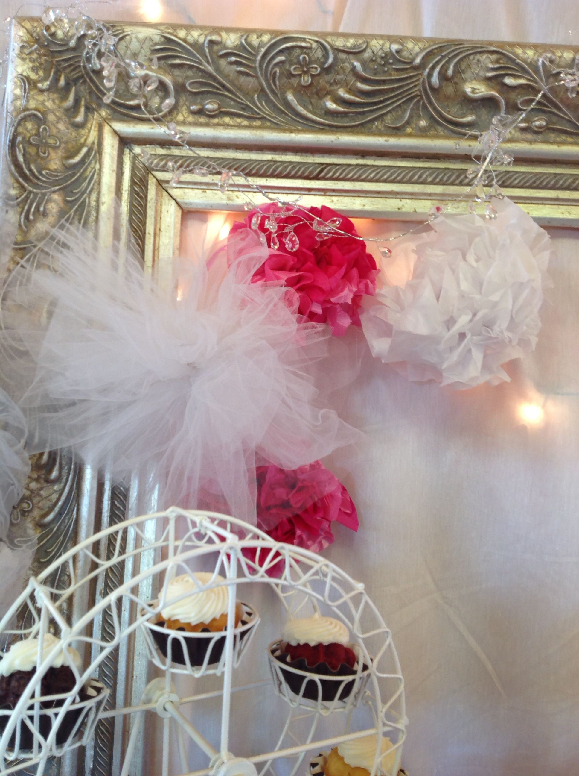 Wedding decorations tulle and lights  Pink wedding candy u dessert table Framed backdrop with paper