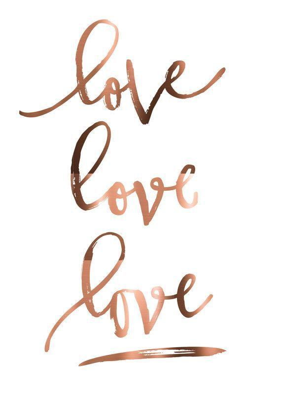 COPPER FOIL love love love romantic print pressed copper poster done in copper copper quotes love quote romantic wall art print