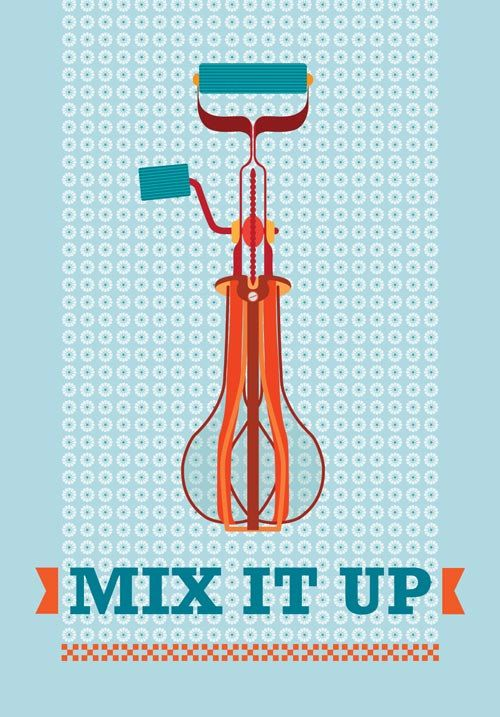 Mid Century Poster Kitchen Art Vintage Retro Hand Mixer Illustration Inspired In Mid Century Art Print Posters Poster Size Kitchen Wall Art Kids Art Wall Frames Framed Wall Art Vintage Poster