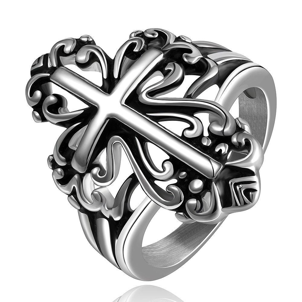 Anillo Cross cruz de acero inoxidable Biker Gothic joyas joyas de acero inoxidable