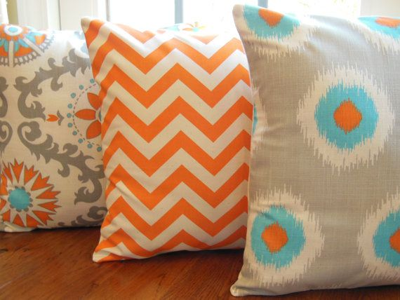Throw Pillows Decoartive Combo Cushions Both Sides Decorative Pillow Three Orange Aqua Cream 18x18 Cases