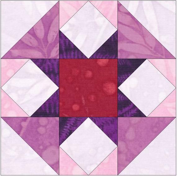 Raspberry Cheesecake Star 15 Inch Block Paper Template Quilting ... : paper templates for quilting - Adamdwight.com