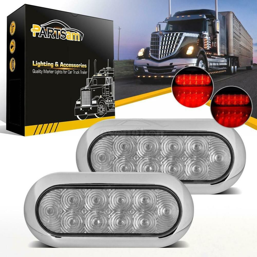 Oval Led Truck And Trailer Lights 6 Brake Turn Tail Lights 3 Pin Connector Flush Mount 10 Leds Truck And Trailer Tail Light Lights