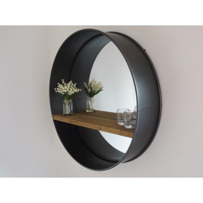 Miroir rond style industriel rétro avec tablette en bois | L ...