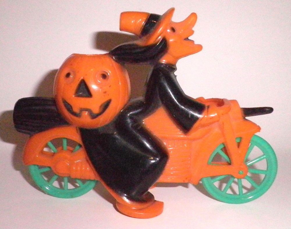 vintage rosen rosbro witch on motorcycle plastic halloween candy