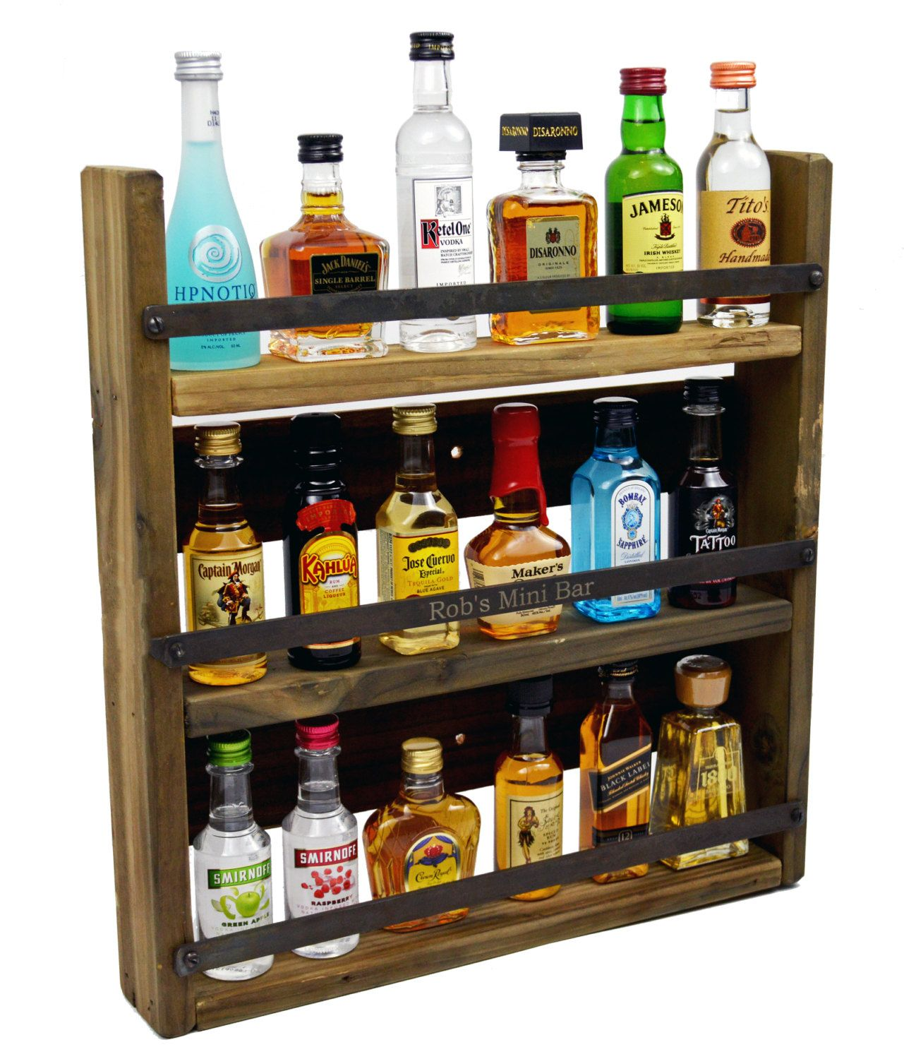 We found a mini-bar that holds our favorite miniature liquor bottles! Description from etsy.com. I searched for this on bing.com/images