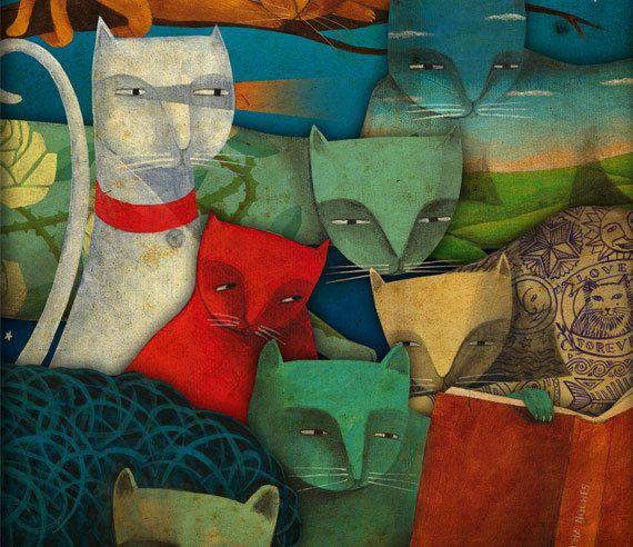 Riunione dei gatti. Stampa poster 165 x 116 A3 di Thesmokingcat